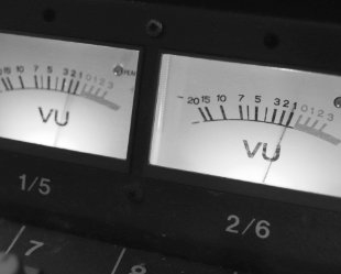 VU meters on a mixing desk